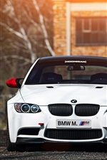 BMW M3 E92 white car, sunset, front view, trees