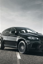 Preview iPhone wallpaper BMW X6M black car in the road