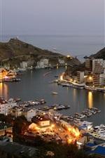 Balaklava, city, lights, dusk, buildings, sea, boat, night