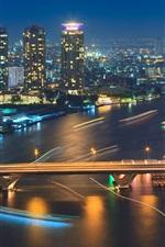 Bangkok, Thailand, city night, river, lights, bridge, boat, buildings