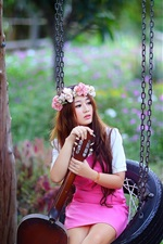 Preview iPhone wallpaper Beautiful asian girl, guitar, flowers, swing