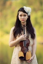 Preview iPhone wallpaper Beautiful asian girl, violin, music