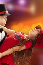 Preview iPhone wallpaper Beautiful dance, cute girl and boy, child
