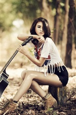 Preview iPhone wallpaper Beautiful girl, asian, guitar, music