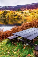 Preview iPhone wallpaper Beautiful landscape, autumn, river, trees, table, benches, grass, leaves