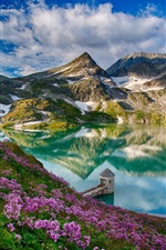 Preview iPhone wallpaper Beautiful spring, mountains, lake, flowers, water reflection, tower