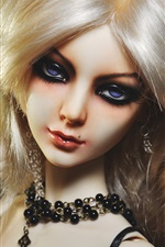 Preview iPhone wallpaper Blonde hair girl, jewelry, doll