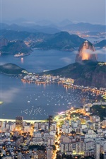 Preview iPhone wallpaper Brazil, Rio de Janeiro, evening, sea, lights, coast, houses, mountains