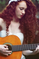Preview iPhone wallpaper Brown hair girl, guitar, music