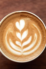 Preview iPhone wallpaper Cappuccino coffee, foam, pattern, heart, cup