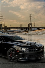 Preview iPhone wallpaper Chevrolet Camaro black car, bridge, power line