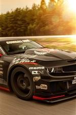 iPhone fondos de pantalla Músculo Chevrolet Camaro superdeportivo negro, de alta velocidad