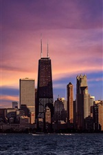 Chicago, Illinois, cidade, rio, arranha-céus, noite, céu roxo, pôr do sol