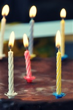Preview iPhone wallpaper Chocolate cake, sweet, candles, fire