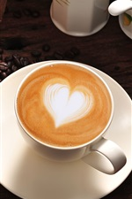 Preview iPhone wallpaper Coffee, cappuccino, heart, love, cup, coffee beans