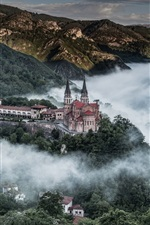 Preview iPhone wallpaper Covadonga, Asturias, Spain, Picos de Europa, house, mountains, trees