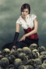 Preview iPhone wallpaper Creative pictures, girl, skull