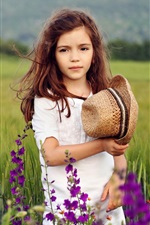Preview iPhone wallpaper Cute girl at the fields, flowers