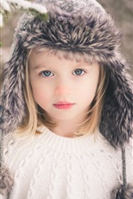 Preview iPhone wallpaper Cute girl, child, blonde, winter snow