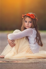 Preview iPhone wallpaper Cute girl, child, sitting, look, wreath, flowers