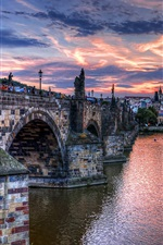 Preview iPhone wallpaper Czech, Prague, city, bridge, river, evening, houses, clouds