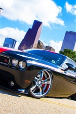 Preview iPhone wallpaper Dodge Challenger RT black car side view
