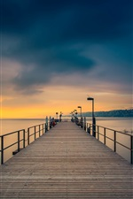 Preview iPhone wallpaper Dusk, coast, sea, bridge, pier, sky