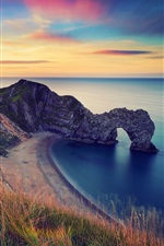 Preview iPhone wallpaper England, morning scenery, sea, rock arch