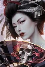 iPhone обои Фэнтези японская девочка, гейша, кимоно, бумажный веер, череп