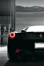Preview iPhone wallpaper Ferrari 458 Italia black supercar back view