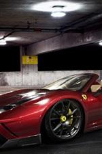 Ferrari 458 Spider red supercar at parking