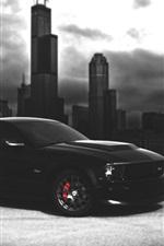 Preview iPhone wallpaper Ford Mustang black car, dark night, city