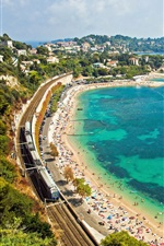 Preview iPhone wallpaper France, French Riviera, Mediterranean Sea, coast, railway, boat, beach, train, road