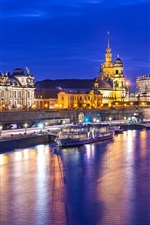 Preview iPhone wallpaper Germany, Dresden, Altstadt, city, night, lights, river, buildings