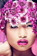 Preview iPhone wallpaper Girl makeup, purple flowers