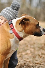 Preview iPhone wallpaper Happy baby boy, hugs, dog, friendship