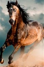 Preview iPhone wallpaper Horse, mustang, desert, gallop
