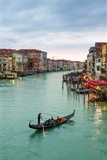 Italy, Venezia, Canal Grande, boats, houses, sea, sky