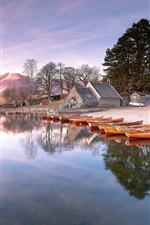 Preview iPhone wallpaper Lake, beach, boats, houses, trees, morning, sunrise