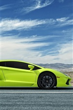 Preview iPhone wallpaper Lamborghini Aventador green supercar side view
