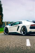 Preview iPhone wallpaper Lamborghini Aventador white supercar back view