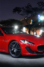 Preview iPhone wallpaper Maserati GT red supercar at night