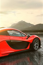 McLaren P1 vista lateral supercarro vermelho
