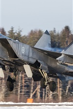 Preview iPhone wallpaper MiG-31 fighter, takeoff airfield