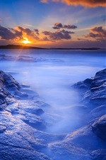 Morning beach, sea, rocks, dawn, sunrise