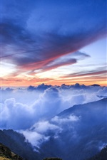 Preview iPhone wallpaper Mountains, hills, altitude, clouds, blue, sunrise