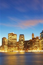 Preview iPhone wallpaper New York, Manhattan, buildings, lights, sea, dusk