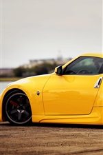 iPhone fondos de pantalla Nissan 370z Vista lateral del coche amarillo