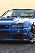 Preview iPhone wallpaper Nissan GTR R34 blue car