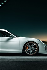 Preview iPhone wallpaper Porsche Cayman white car side view